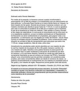 (Carta recibida en WALO Radio)