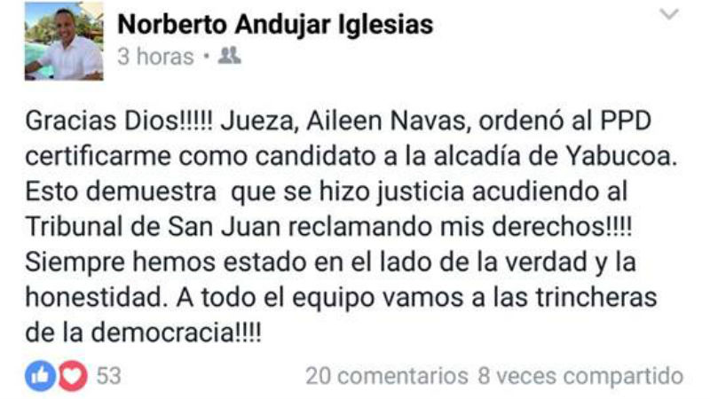 Norberto Andujar Primarias
