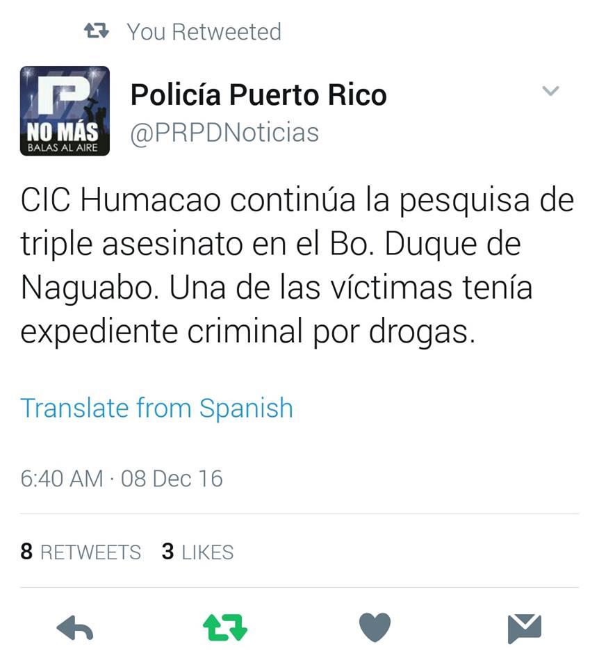 twitter policia matanza naguabo