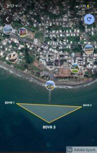 Mapa de la ubicación de las boyas